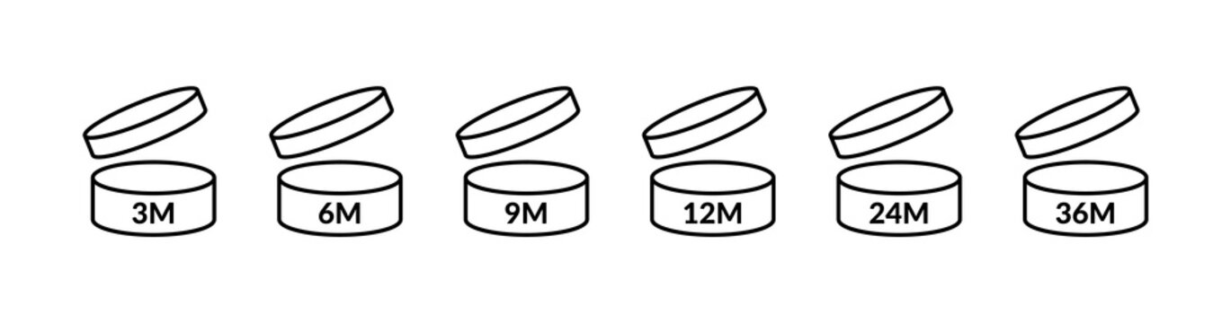 PAO icons. Period after opening. 3, 6, 9, 12, 24 36 months logo. Vector open cosmetic sign