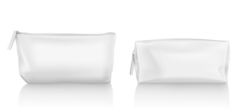 White cosmetic bag with zipper for makeup and beauty tools. Vector realistic mockup of blank fabric pouch with zip for toiletry, soap and body care products. Small beauticians for travel