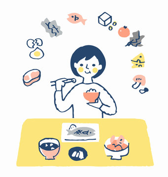 食事をする女性 栄養バランス