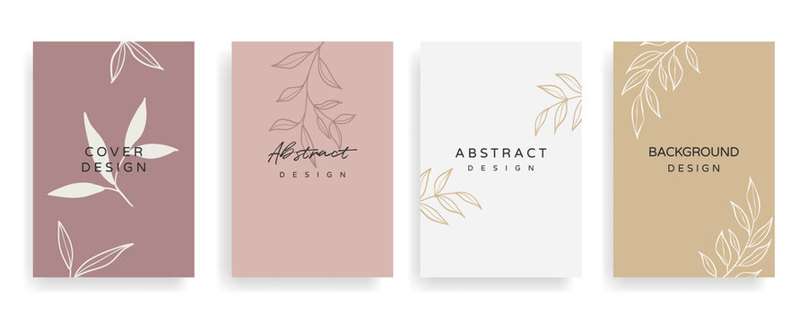 Social media stories and Main Feed cover.  Background template with copy space for text and images, Tropical line arts , floral and leaves in warm earth tone vector illustration.