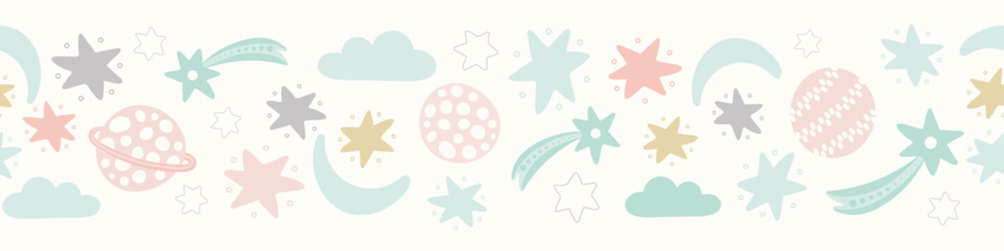 Space pattern banner design in pastel colours. Cute vector solar system repeat border background.