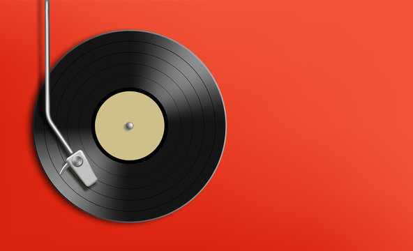 Vinyl record disc. Music background with copy space