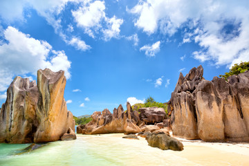 Wall Mural - Big granite rocks at tropical beach in Corieuse Island, Seyshelles