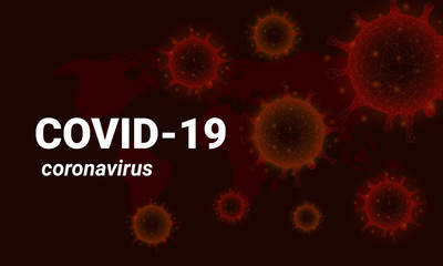 Covid-19 background, background virus strain of MERS-Cov and Novel coronavirus 2019-nCoV. Vector concept of dangerous virus in China with medical cell.