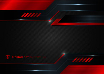 Abstract technology geometric red and black color shiny motion background. Fototapete