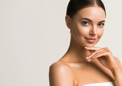 Beautiful woman healthy skin natural make up