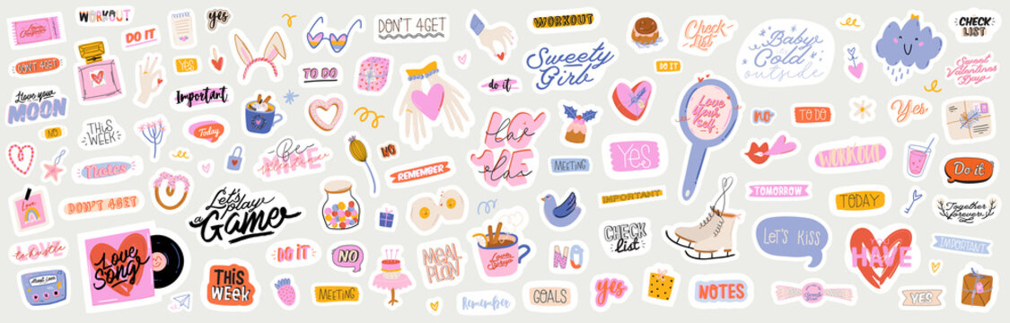 Beautiful love stickers with Valentines day elements and quotes. Romantic cartoon image and trendy lettering. Vector hand drawn flat illustrations, sign, objects for planner and organizer.