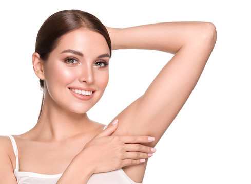Arm pit woman hand up clean skin depilation concept skin care