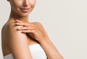Hands woman manicure natural female beauty shoulders neck arms