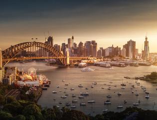 Fototapete - sunset,  Sydney harbor, New South Wales, Australia