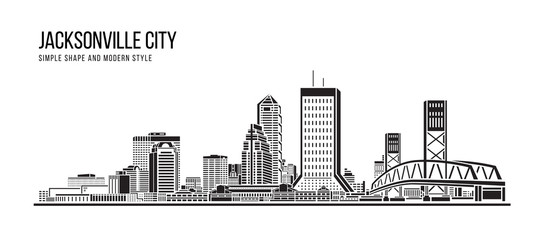Cityscape Building Abstract Simple shape and modern style art Vector design - Jacksonville city Fotomurales