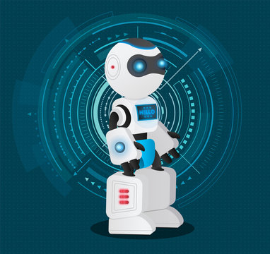 Artificial intelligence character stand in cyber space. Autonomous machine with humanlike interface. Robot capable to make decisions. Vector illustration of innovations and technologies in flat style