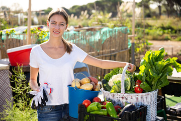 Fototapete - Young woman gardener with harvest of vegetables and greens