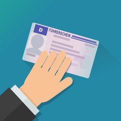 Zeigen seinen deutschen Führerschein (flaches Design)