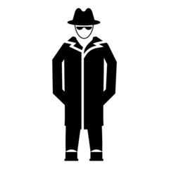 Private Investigator Avatar Concept, Spy with Long Coat Vector Icon Design