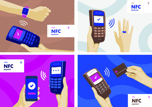 NFC terminal payment. Different pos purchase by card, ring, watch, smartphone. Digital wireless transaction concept. Electronic finance banners for web or articles. Vector illustration
