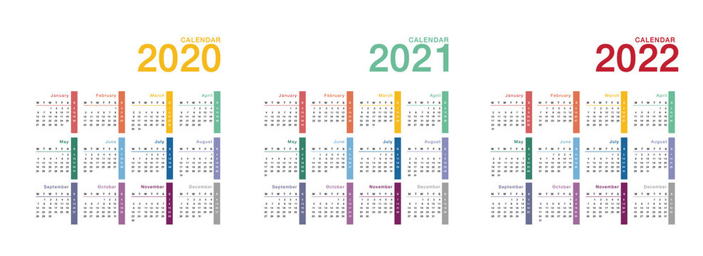 Year 2020 and Year 2021 and Year 2022 calendar vector design template, simple and clean design. Calendar for 2021 and 2022 on White Background for organization and business. Week Starts Monday.