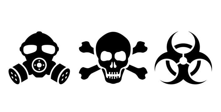Toxic danger symbols set, vector illustrations
