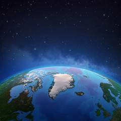 Wall Mural - Arctic and Greenland from space