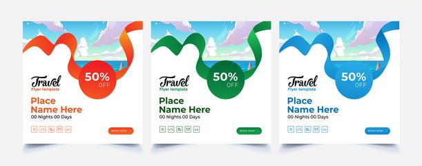 Fototapeta Travel Flyer brochure design template, layout space for photo background. obraz