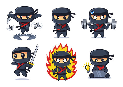 black Ninja cartoon collection in various poses set