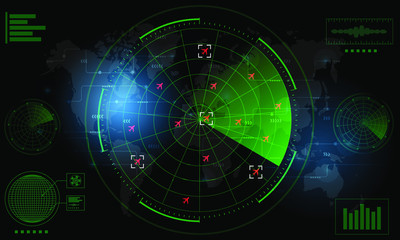 Radar Monitor. Air Traffic Control Radar screen and plane that is flying in the screen. background is a world map. Vector illustration eps10