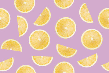 pattern with lemon slices on a purple background