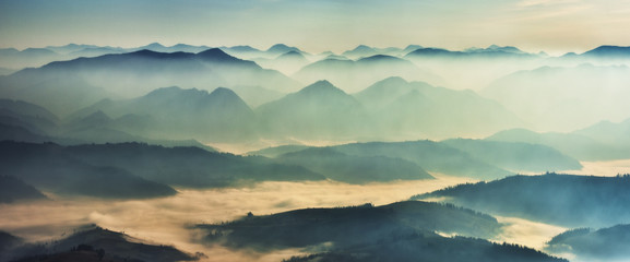 silhouettes of morning mountains. foggy morning in the Carpathians. Mountain landscape