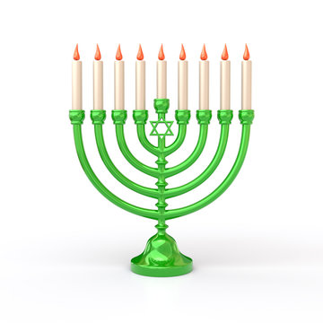 Green Hanukkah Menorah with candles 3d illustration