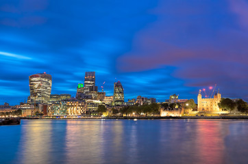Fototapete - Panorama of London with modern downtown in England, UK