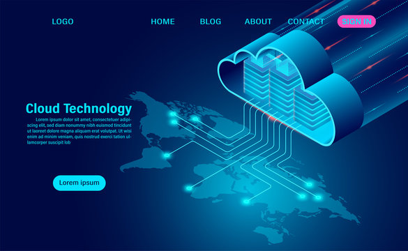 World cloud technology concept. online computing technology. big data flow processing concept on map. isometric flat design vector illustration