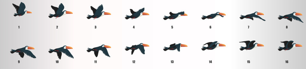 Toucan flying animation sequence, loop animation sprite sheet
