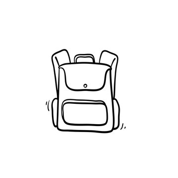 hand drawn Backpack icon. Line art style. Vector.doodle