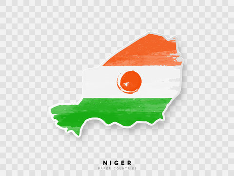 Niger detailed map with flag of country. Painted in watercolor paint colors in the national flag.