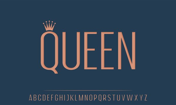 queen, the elegant and glamour font vector alphabet