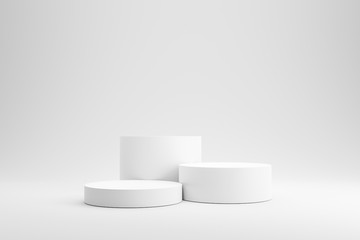 Empty podium or pedestal display on white background with cylinder stand concept. Blank product shelf standing backdrop. 3D rendering. - fototapety na wymiar