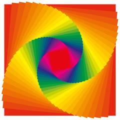 Spirale aus Quadraten in Regenbogen Farben