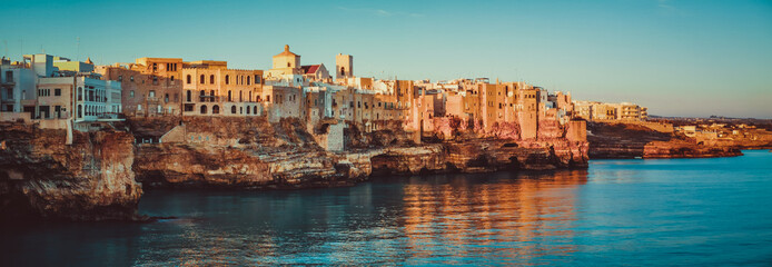 Printed roller blinds Deep brown Panorama of Polignano a Mare at Sunrise - Puglia - Italy