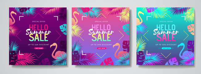 Set of colorful summer big sale tropical gradient banners with fluorescent tropic leaves. Summertime template collection.