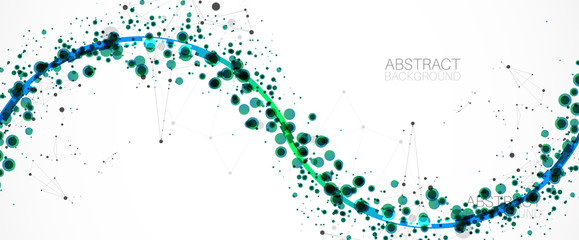 Abstract vector background, scientific direction, with green circles and chaotic spots on it.