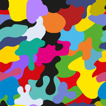 Bright camouflage seamless pattern. Modern print. Colorful vector illustration.