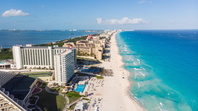 Aerial view of turquoise water Tulum beach Mexico North America