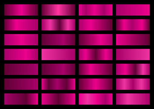 Vector set of pink metallic gradients, swatches collection, shiny gradient set on black background, metal texture