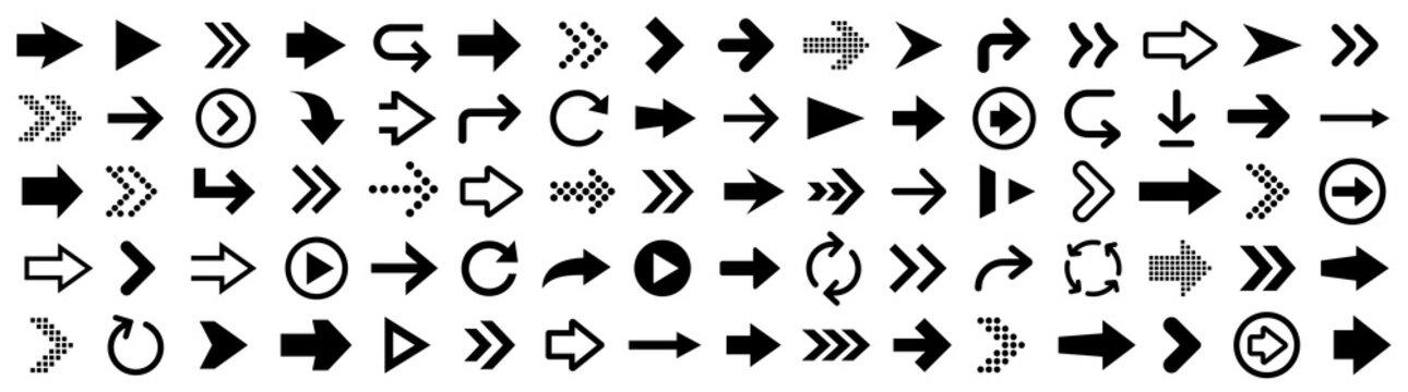 Arrow icons big set. Vector illustration