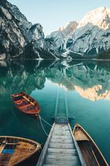 Aluminium Prints Mountains Rowing Boats on the Lake