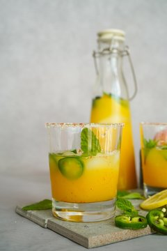 Spicy Mango Margarita, selective focus