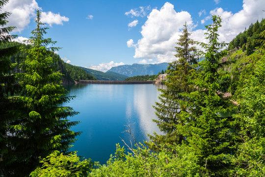 Lago di Paneveggio artifical lake in the Fiemme valley of Trentino, Italy.