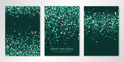 Banners set with sparkle emerald confetti on green back. Vector flyer design templates for wedding, invitation cards, save the date, business brochure design, certificates. All layered and isolated