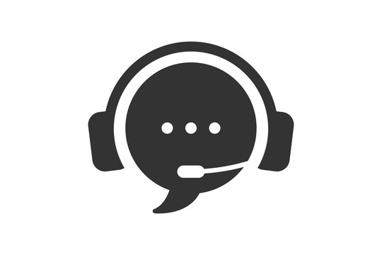 Live chat icon. Online web support system. Call center icon. Consept of live chat, messages of speech bubble with dots and headphones. Flat vector illustration isolated on white background.