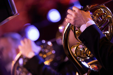 A French horn player playing his instrument in a classical symphony orchestra with another player in the background with the room flooded with colorful stage lights Wall mural